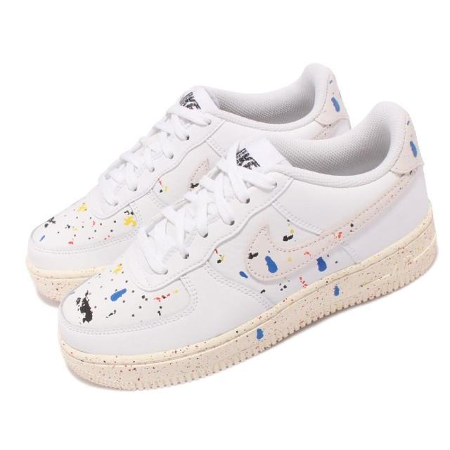 【NIKE 耐吉】休閒鞋 Air Force 1 LV8 3 女鞋 經典款 氣墊 避震 潑墨設計 大童 穿搭 米白(DJ2598-100)