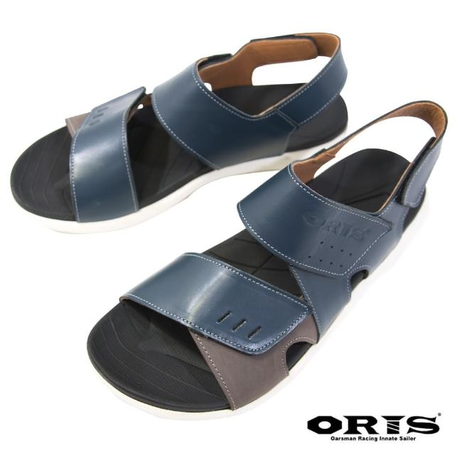 【oris 帆船鞋】三段式黏扣帶防滑真皮涼鞋-藍-S1322N04(真皮/三段黏扣帶/防滑/涼鞋)