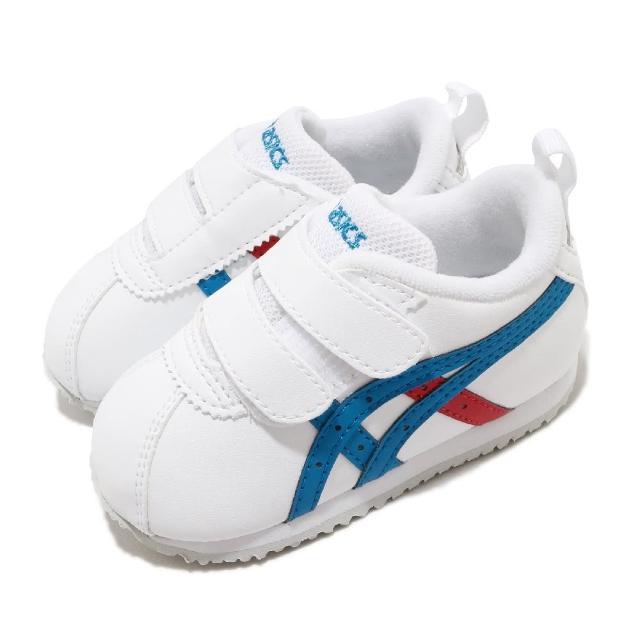 【asics 亞瑟士】休閒鞋 Corsair Baby 2 復古 童鞋 亞瑟士 魔鬼氈 親子鞋 皮革 小童 白 藍(1144A151101)