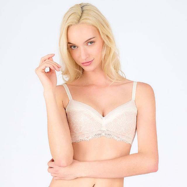 【Triumph 黛安芬】FLORALE熱艷麗菊系列 透氣無鋼圈 B-E罩杯內衣(典雅白)