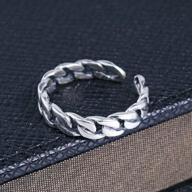 【米蘭精品】925純銀戒指鑲鑽銀飾(韓版復古繩結開口設計情人節生日禮物女飾品73dx22)