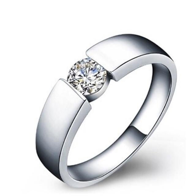【米蘭精品】925純銀戒指鑲鑽銀飾(簡潔大方亮眼有型情人節生日禮物男飾品73dx32)