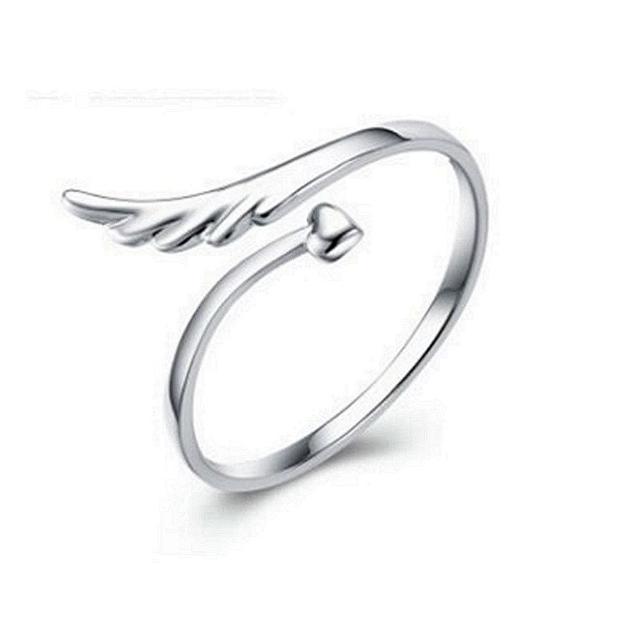 【米蘭精品】925純銀戒指鑲鑽銀飾(美麗天使浪漫唯美情人節生日禮物女飾品73dx26)