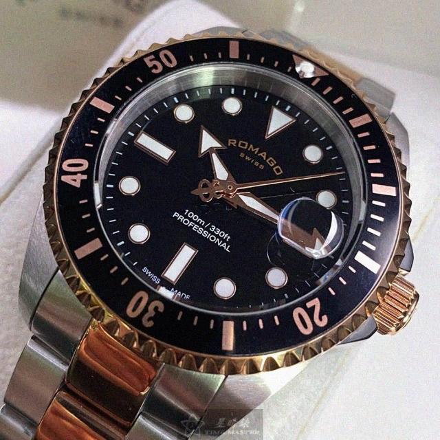 【ROMAGO】ROMAGO雷米格男錶型號RM00001(黑色錶面黑金色錶殼銀金色精鋼錶帶款)