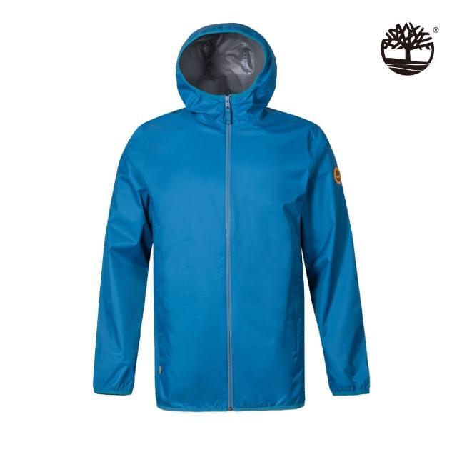 【Timberland】男款藍色可收納防水連帽外套(A2ETNG94)