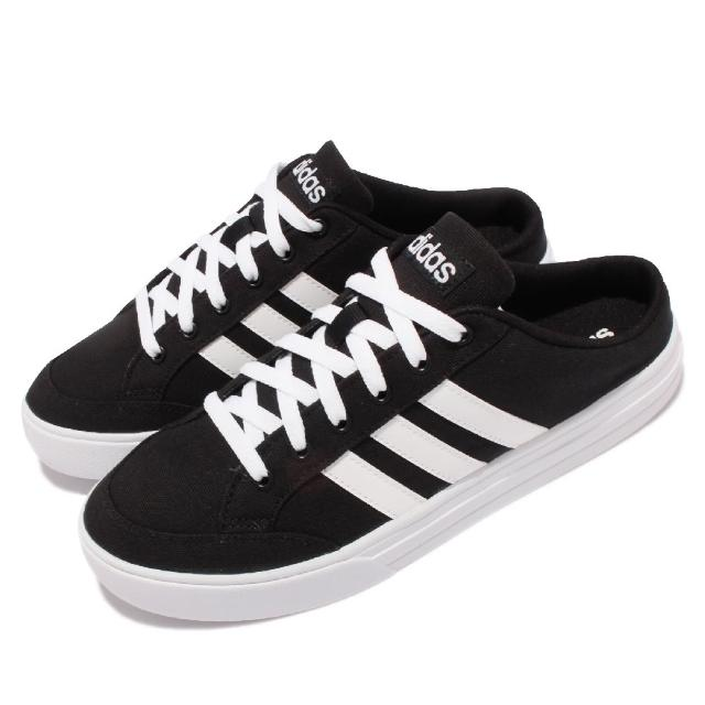 【adidas 愛迪達】休閒鞋 VS Set Mule 套腳 男鞋 愛迪達 輕便 半包拖鞋 帆布 穿搭 黑 白(FX4850)