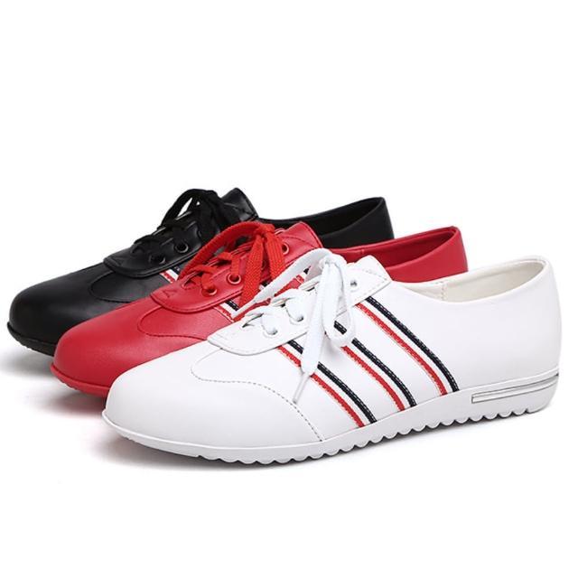 【Taroko】百搭條紋真皮素面女工作鞋(3色可選)