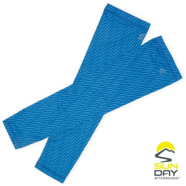 【BUFF】抗UV透氣涼感袖套 手腕 藍色幾何折線 UVShield Cool Sleeves(SAS2A64649B-595/防曬/遮陽)