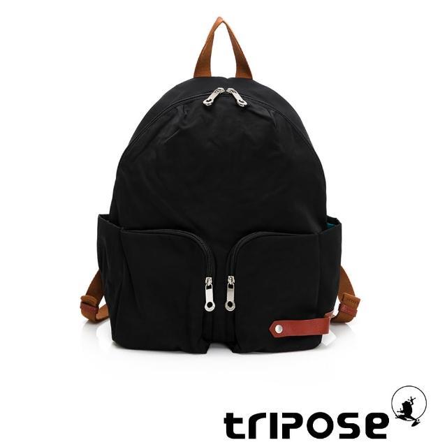 【tripose】CUBI微皺尼龍輕量後背包-大(潮感黑)