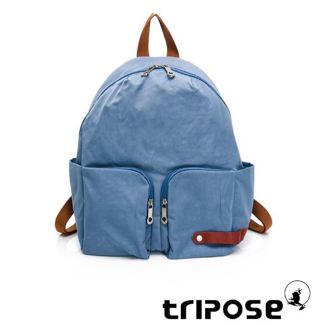 【tripose】CUBI微皺尼龍輕量後背包-大(蔚水藍)