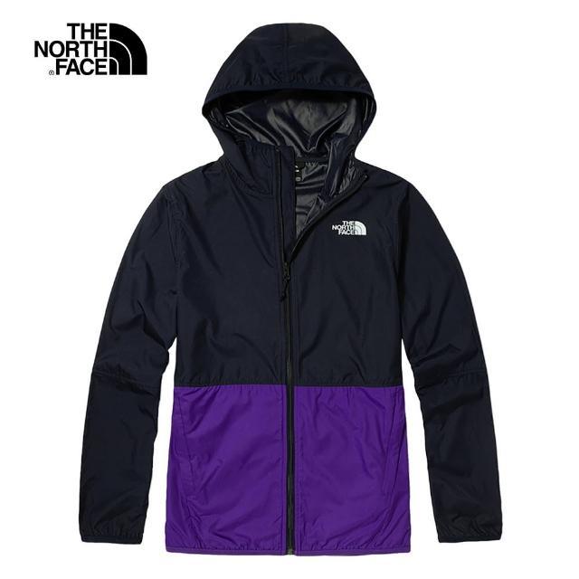 【The North Face】The North Face北面男款藍紫色拼接防潑水連帽外套|4NEF3Z8