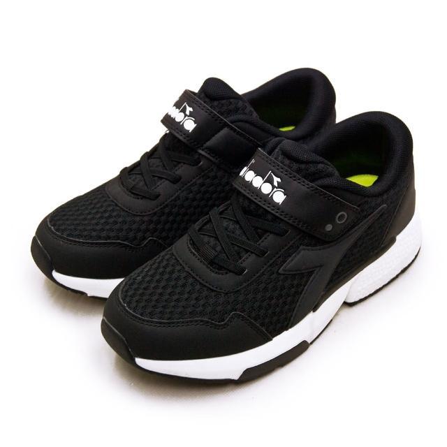 【DIADORA】大童 迪亞多那 22cm-24.5cm 輕量超寬楦避震慢跑鞋 極速超跑系列(黑白 11020)