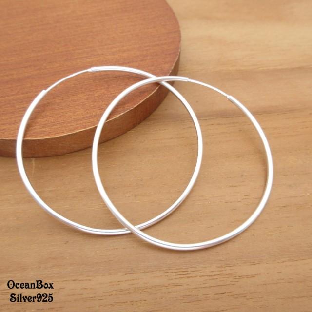 【海洋盒子】1.5mm寬5cm亮面大圈圈925純銀針式耳環(中大圈圈925純銀耳環.素銀)