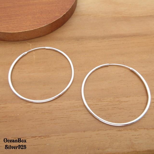 【海洋盒子】1.5mm寬.4cm亮面大圈圈925純銀針式耳環(925純銀中圈圈耳環)