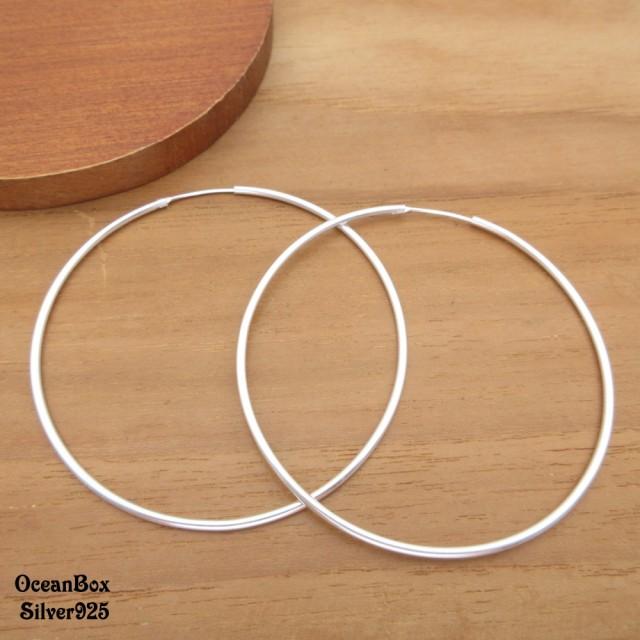 【海洋盒子】1.5mm寬6cm亮面超大圈圈925純銀針式耳環(925純銀大圈圈耳環.素銀)