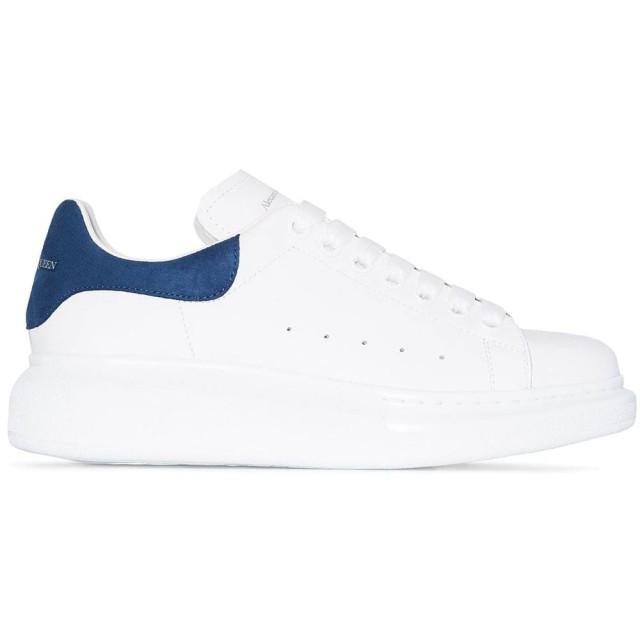 【Alexander McQueen】麥昆經典時尚百搭拼接深藍色街頭休閒小白鞋(深藍)
