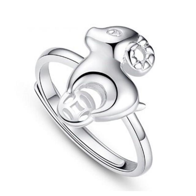 【米蘭精品】925純銀戒指銀飾(可愛時尚綿羊造型情人節生日禮物女飾品73dx106)