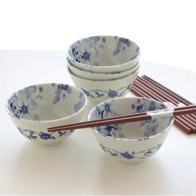 【Just Home】Just Home日本製羽之菊陶瓷碗筷超值10件餐具組 飯碗+原木筷(陶瓷碗盤、組合、贈禮)