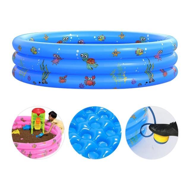【JoyNa】兒童充氣游泳池+採壓式打氣筒(三環獨立充氣.球池.100cm)