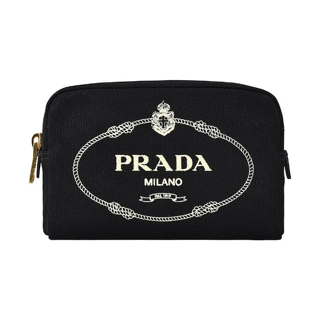 【PRADA 普拉達】PRADA CANAPA米白字LOGO帆布拉鍊手拿化妝包(黑)