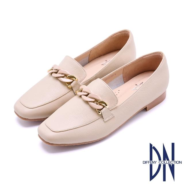 【DN】樂福鞋_MIT環釦鏈飾全真皮平底樂福鞋(米)
