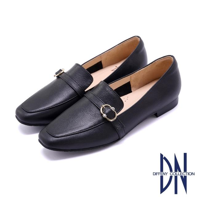 【DN】樂福鞋_MIT真皮圓鑽飾釦牛皮樂福鞋(黑)