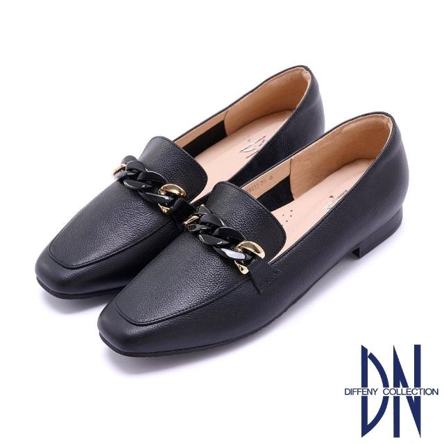 【DN】樂福鞋_MIT環釦鏈飾全真皮平底樂福鞋(黑)