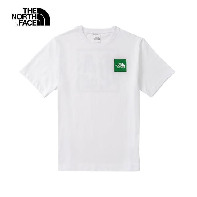 【The North Face】The North Face北面男款白色背部仙人掌特色印花圓領短袖T恤|7QTDFN4