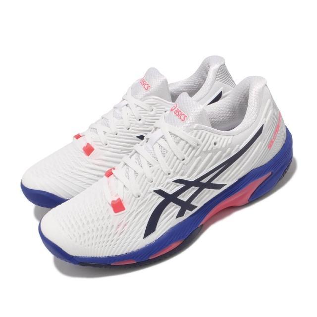 【asics 亞瑟士】網球鞋 Solution Speed FF 2 女鞋 亞瑟士 吸震 緩衝 回彈 高抓地力 白 藍(1042A136102)
