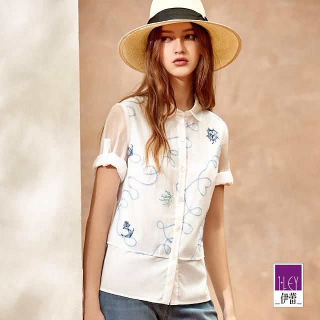 【ILEY 伊蕾】輕盈海洋刺繡萊賽爾拼接花瓣領上衣1212071548(白)