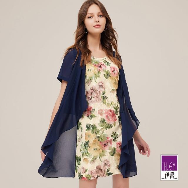【ILEY 伊蕾】古典柔美蕾絲花卉假兩件雪紡洋裝1212037340(深藍)