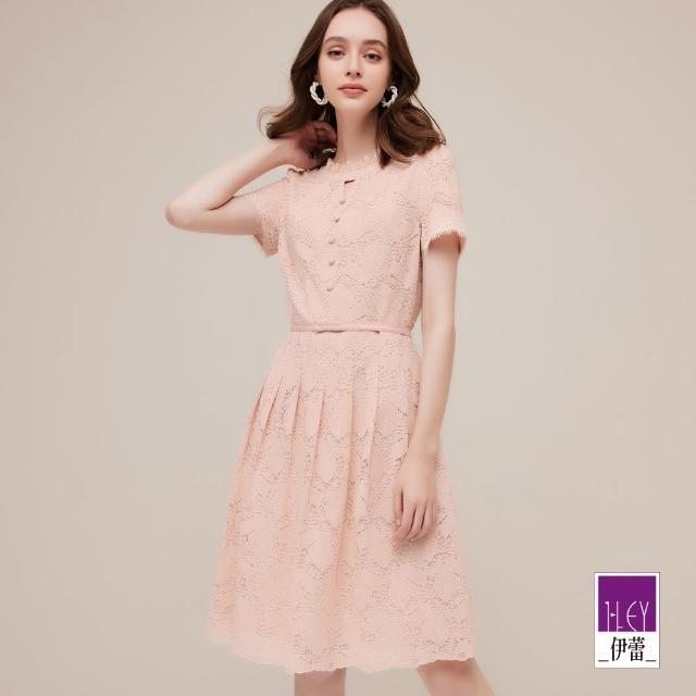 【ILEY 伊蕾】優雅繩股蕾絲排釦造型腰帶洋裝1212037159(淺粉)