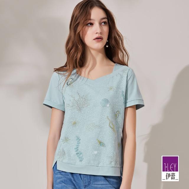 【ILEY 伊蕾】海洋刺繡蕾絲拼接高含棉上衣1212071030(淺藍)