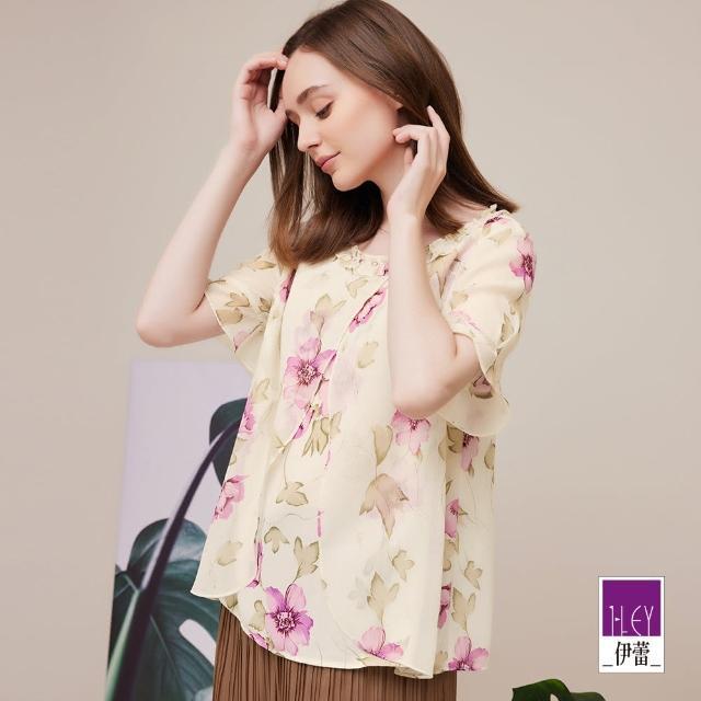 【ILEY 伊蕾】浪漫楊柳雪紡層次造型印花上衣1212081476(杏)