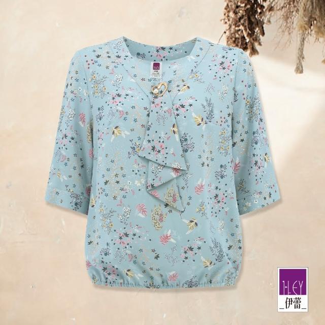 【ILEY 伊蕾】俏麗領結滿版小花造型雪紡上衣1212021489(淺藍)