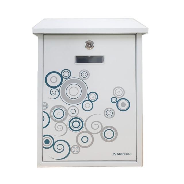印花烤漆信箱 白灰圈 上掀式信箱 信件箱(E5608 意見箱信件郵件 附二支鑰匙螺絲 外投外取40*25*10cm)