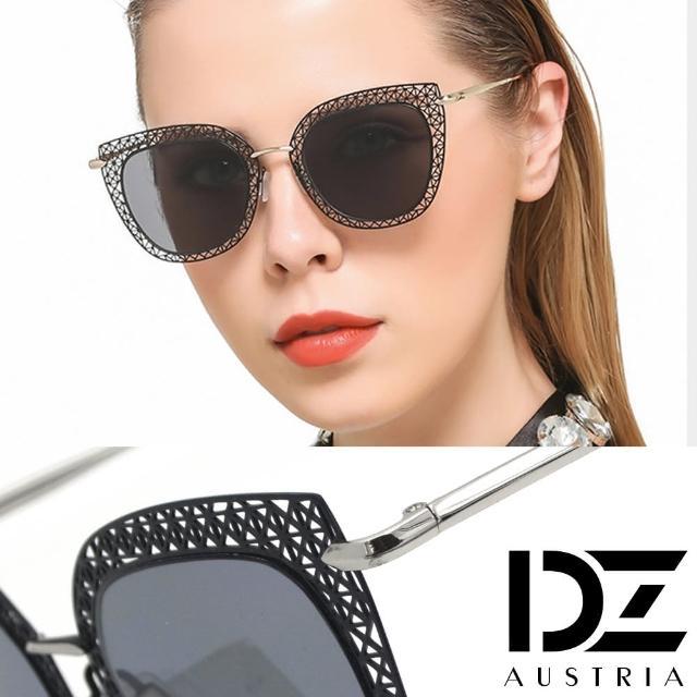 【DZ】UV400防曬太陽眼鏡墨鏡-網紅款雕鏤平版型(黑框灰片)