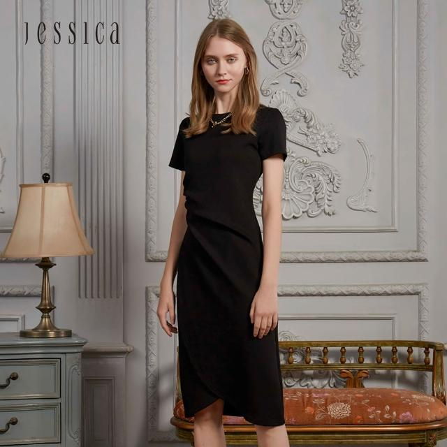 【JESSICA】氣質顯瘦收腰皺褶空氣棉短袖洋裝(黑)