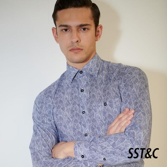 【SST&C】深藍葉子印花經典款長袖襯衫0312103023