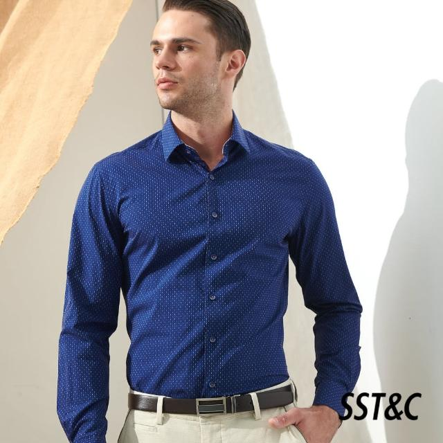 【SST&C】深藍底紅白色織印花經典款長袖襯衫0312105008