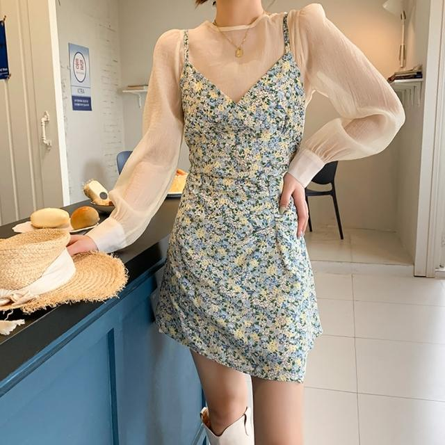 【BBHONEY】韓妞必備碎花吊帶裙+襯衫兩件套(網美熱搜款)