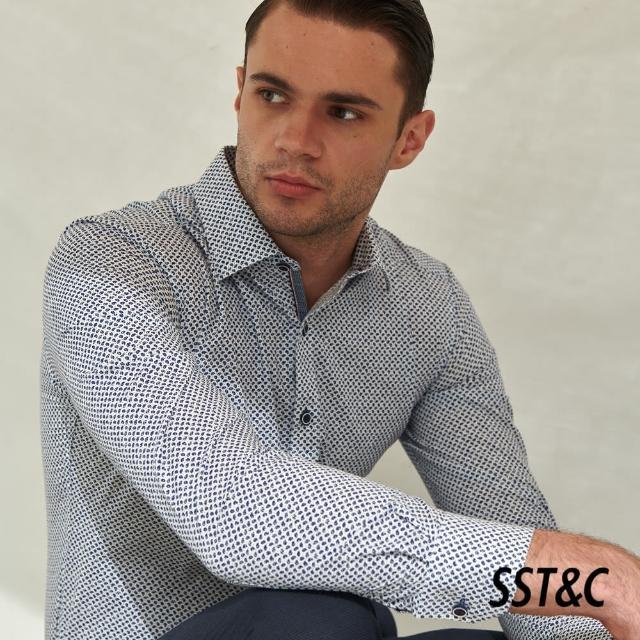 【SST&C】藏青不規則小印花經典款長袖襯衫0312105003