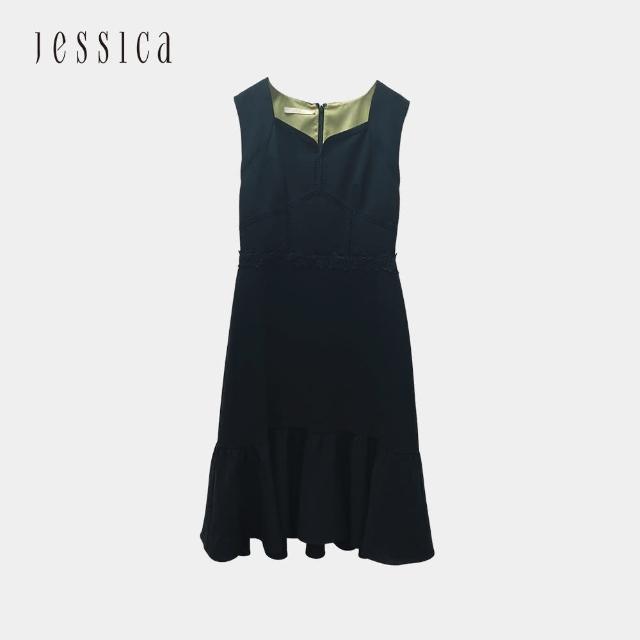 【JESSICA】氣質顯瘦收腰無袖雪紡洋裝(黑)