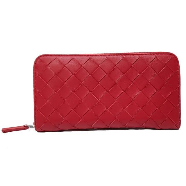 【BOTTEGA VENETA 寶緹嘉】577775 新款編織系列內裡拚色拉鍊長夾(紅色)