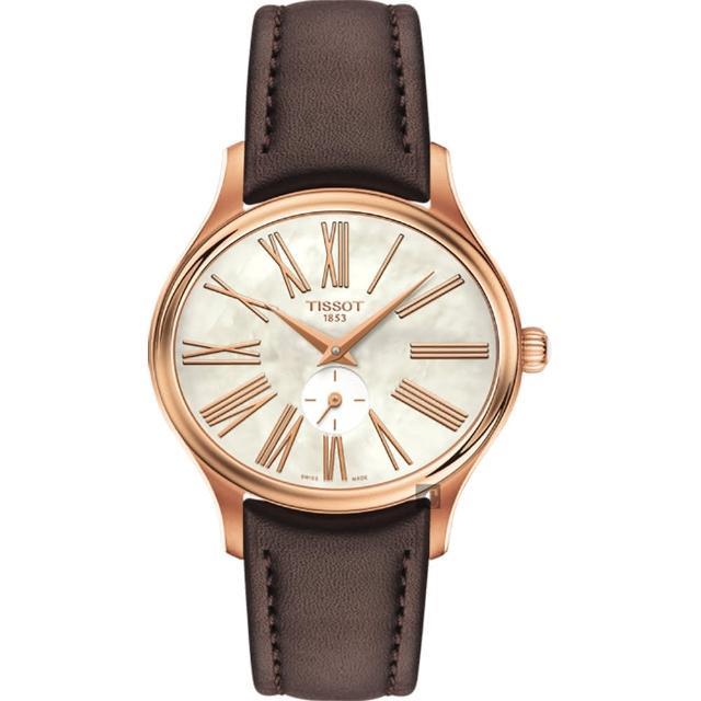 【TISSOT 天梭】BELLA ORA 羅馬小秒針女錶-珍珠貝x玫塊金框/31mm(T1033103611300)