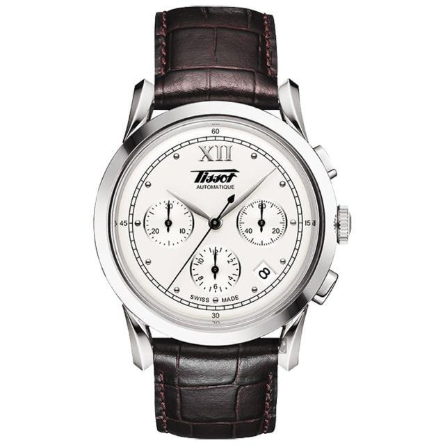 【TISSOT 天梭】Heritage 1948系列古典計時機械錶-銀x咖啡/39.5mm(T66171233)