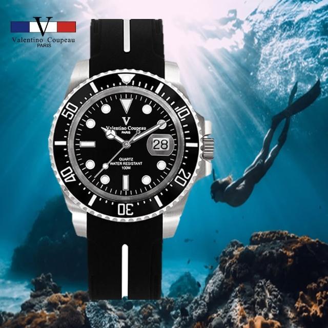 【Valentino Coupeau】陶瓷圈黑水鬼款夜光橡膠帶腕錶-e(范倫鐵諾 古柏 VCC)
