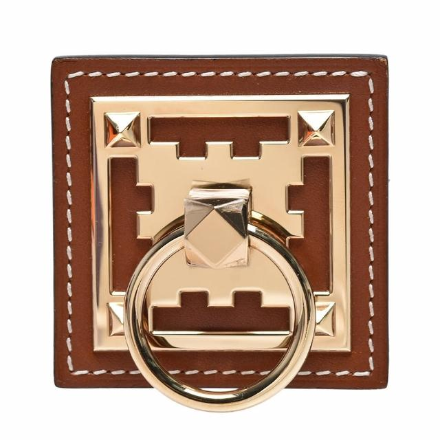 【Hermes 愛馬仕】經典方形小牛皮腰帶/皮帶釦頭(焦糖褐色HXD6059-GOLD)