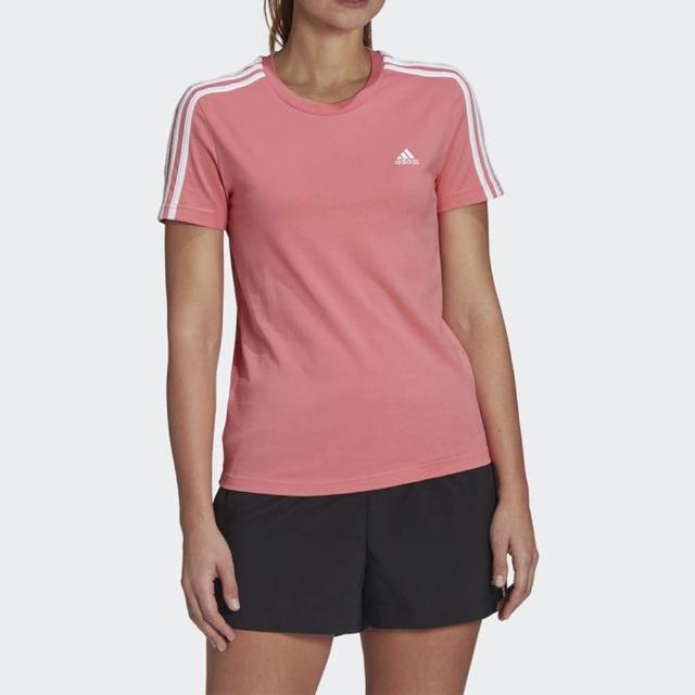 【adidas 愛迪達】Adidas W 3s T 女 短袖 T恤 運動 休閒 訓練 網球 舒適 合身 修身 粉(GL0787)