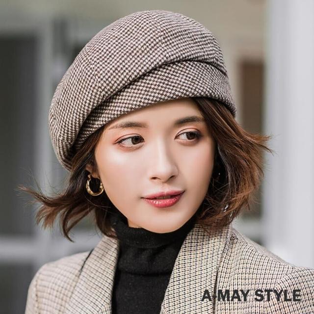 【Amay Style 艾美時尚】優雅千鳥格紋貝雷帽(5色.預購)